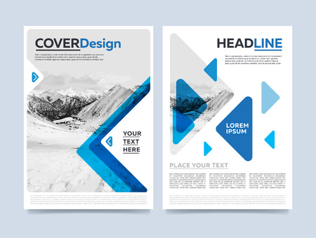 Illustration for Brochure cover presentation design template vector. Blue annual report abstract flat background. Leaflet layout. Corporate document. Business booklet concept. - Royalty Free Image