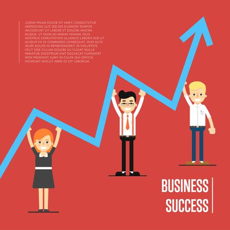 Group of cartoon business people pushing business graph upwards, vector illustration on red background. Business success concept. Teamwork and corporate profit with statistical trend