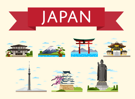 Japan travel set of famous asian attractions on white background, vector illustration. Torii gate, fujiyama, television tower and ancient temples. Asian architecture. Japan landmarks collection