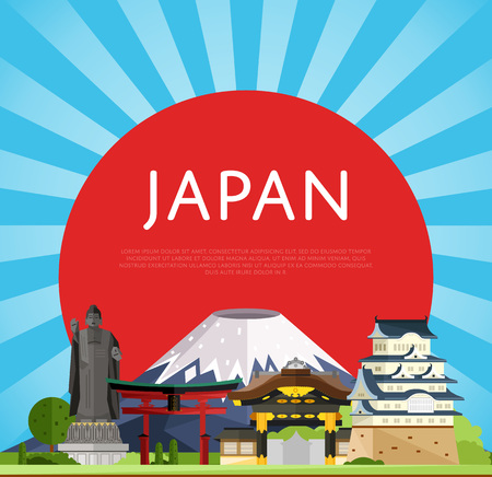 Japan travel poster with torii gate, fujiyama, buddha statue and ancient temples, vector illustration. Famous attractions on background of red sun circle. Worldwide traveling. Japanese culture