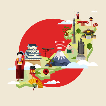 Japan famous landmarks and travel map with asian girl in traditional dress on background of red sun circle, vector illustration. Travel concept with Japan traditional symbols. Architecture attractions