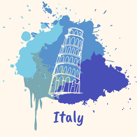 Bright impressions in Italy. Pisa tower doodle sketched white on blue paint spot with splashes vector illustration. Travel in Europe. Emotive country concept with famous architecture attractions