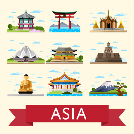Asian travel set vector illustrations. Lotus temple, Taj Mahal, Torii gate and others famous architectural attractions. Time to travel concept. Worldwide traveling. Asian landmarks collection.