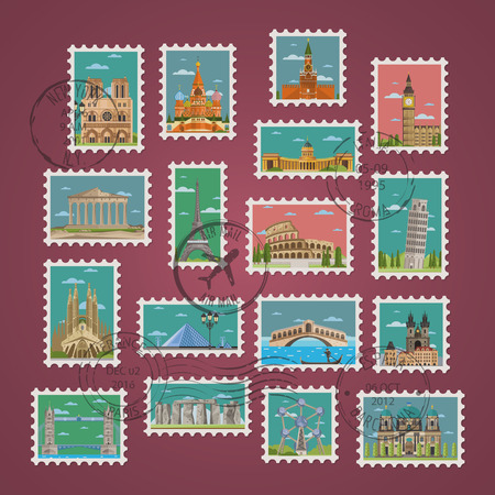 Postage stamps and postmarks with famous architectural compositions vector illustration. Worldwide architecture attractions set, traditional and modern buildings. Stamp travel collection