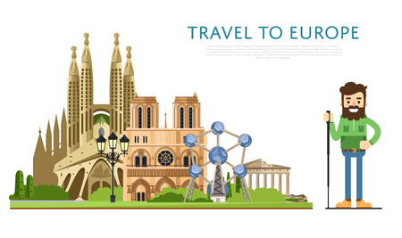Travel to Europ banner with smiling tourist on background of famous traditional and modern architecture attractions. Hiking, travel lifestyle concept with historic architectur. European landmarks.