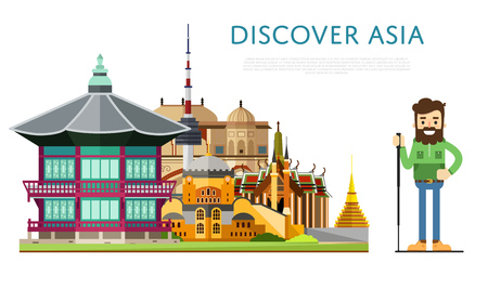Discover Asia banner with smiling tourist on background of famous traditional and modern architecture attractions. Hiking, travel lifestyle concept with historic architectur. Asian landmarks.