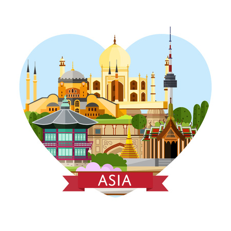 Asia travel banner with temple of Emerald Buddha, Taj Mahal and others famous traditional and modern attractions. Time to travel concept. Worldwide traveling. Asia landmarks in heart frame.