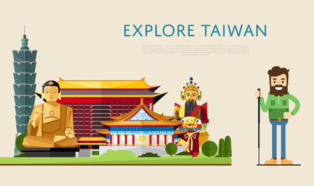 Explore Taiwan banner with smiling tourist on background of famous traditional and modern asian buildings. Man traveler hiking. Asian architecture attractions. Travel lifestyle. Taiwan landmarks