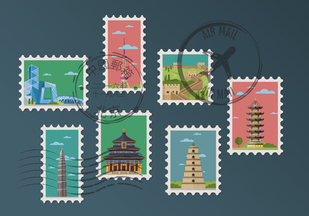 Chinese postage stamps and postmarks on blue background, isolated vector illustration. Asian architecture attractions, famous traditional and modern buildings in flat design. Travel concept.