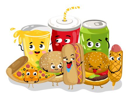 Illustration pour Funny fast food menu cartoon character - image libre de droit