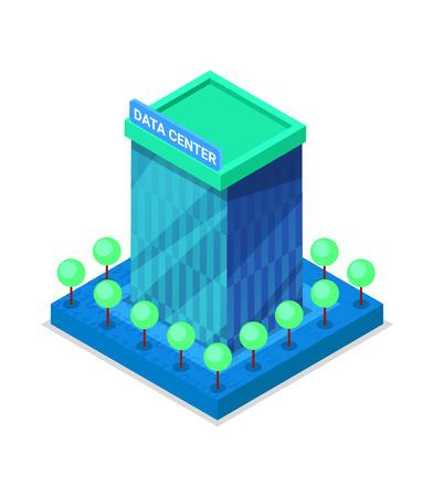 Photo pour Modern data center building isometric 3D icon. - image libre de droit