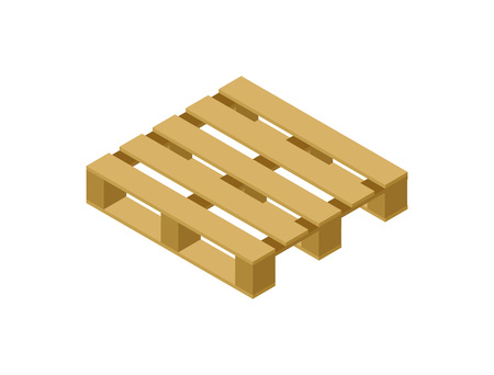 Illustration pour Wooden pallet isometric 3D icon. Shipping and delivery logistics, goods packing object vector illustration - image libre de droit
