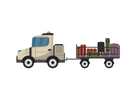 Baggage cart isolated vector icon. Passenger airport ground technics, aviation terminal logistics and infrastructure vector illustration.
