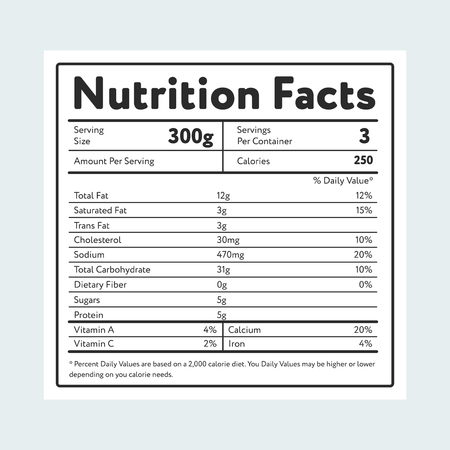 Nutrition facts in label on light blue