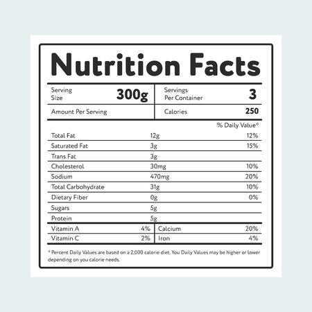 Ilustración de Nutrition facts in label on light blue - Imagen libre de derechos