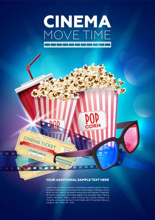Illustration for Bright multicolored poster showing Cinema movie time with image of popcorn and glasses with tickets - Royalty Free Image