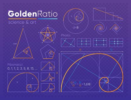 Illustration pour Set of golden ratio element - image libre de droit