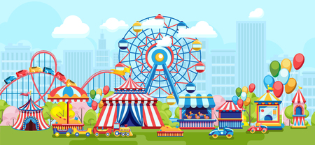 Ilustración de Bright flat design of amusement park with Ferris wheel on urban background - Imagen libre de derechos