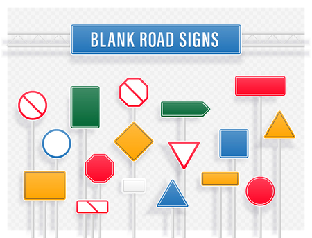 Set of various multicolored shaped road signs on transparent background