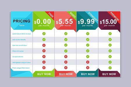 Illustration pour Pricing table design. Simple price list design - image libre de droit