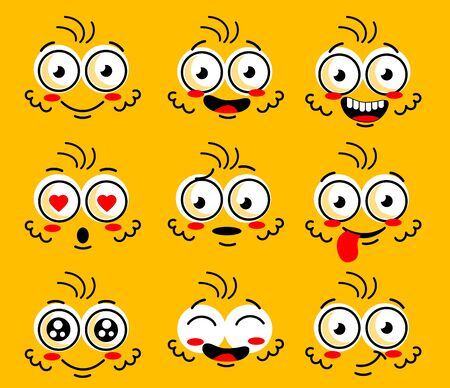 Illustration pour Cartoon face character. Funny face parts with expressions emotion eye Comic doodle smile face, angry, sad, cute and smiley eye. Cartoon faces expressions set isolated on yellow background. - image libre de droit