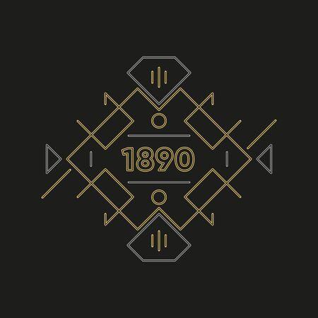 Illustration pour Art deco logo design. Premium golden frame - image libre de droit