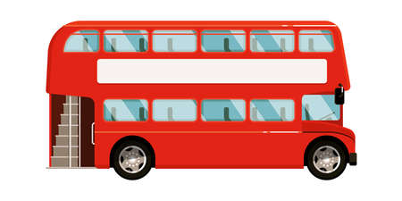 Illustration for Red double-decker bus icon on white background - Royalty Free Image