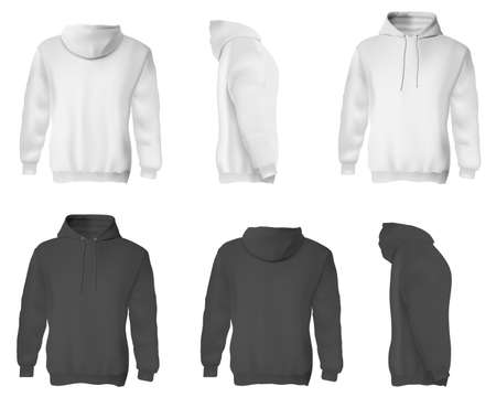 Photo pour Man hoodie. Black and white blank male sweatshirts with hood template set. Front, side and back views of adult man hoodie shirts mockup collection. Casual clothing fashion mock up concept - image libre de droit