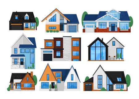 Illustration pour House exterior front set. Isolated residential city building icon. Modern cottage house exterior front view collection. Vector home architecture - image libre de droit