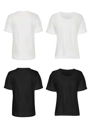 Ilustración de White and black t-shirt mockup set. Isolated blank male short sleeve t-shirt clothes template set. Front and back views of man t-shirts mockup collection. Vector casual fashion clothing mock up design - Imagen libre de derechos