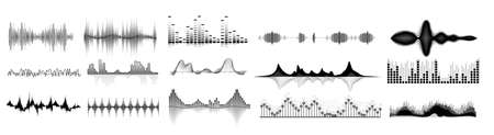 Illustration pour Sound waves icon set. Isolated audio sound wave icons. Black abstract pulse frequency waveform design collection on white background. Music equalizer digital technology illustration - image libre de droit