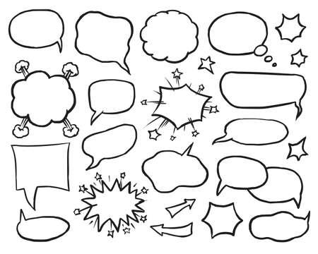 Illustration pour Blank speech, idea and thought comic bubble set - image libre de droit