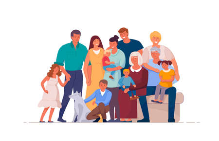 Foto de Portrait of big happy family of many people and different generations illustration. Cartoon family characters such as son, father, newborn, grandparents on white background. - Imagen libre de derechos