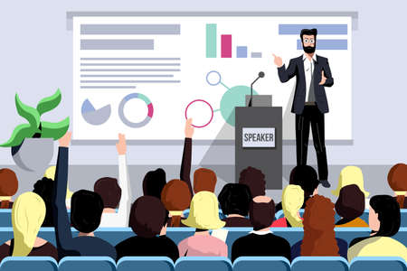 Business seminar speaker does presentation front of audience