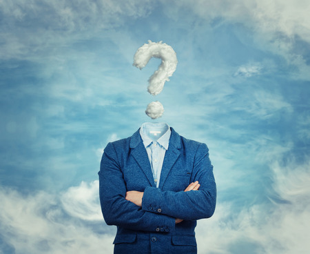 Photo pour Surreal image as a businessman with invisible face stand with crossed hands and question mark insted of his head, like a mask, for hiding his identity. Interrogation sign symbolizing the head in the clouds, isolated on blue sky background.  - image libre de droit