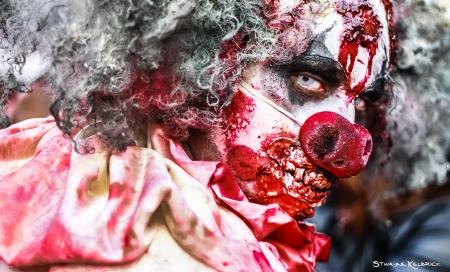 Portrait of a  fake  zombie clown