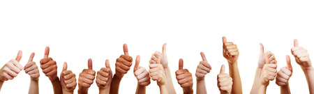 Photo pour Banner with many different thumbs pointing upwards against white background - image libre de droit