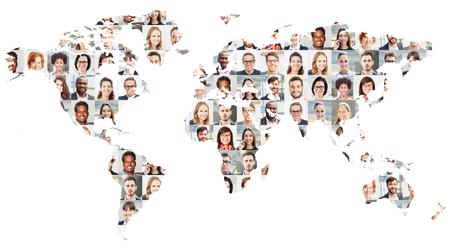 Foto de Portrait collage with business people on world map as business and globalization concept - Imagen libre de derechos