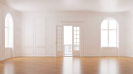 Photo for Elegant empty room in old building with double doors to the balcony (3D Rendering) - Royalty Free Image