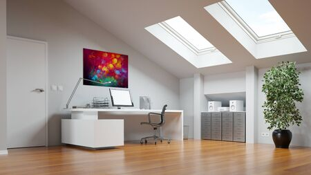Photo pour Attic as home office or study room with desk and computer (3D Rendering) - image libre de droit