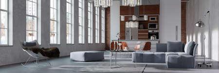 Foto de Panorama of a modern bright loft with integratedn kitchen behind living room (3D rendering) - Imagen libre de derechos