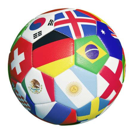 Foto de Colorful football with many flags of soccer match 2018 participants (3D rendering) - Imagen libre de derechos
