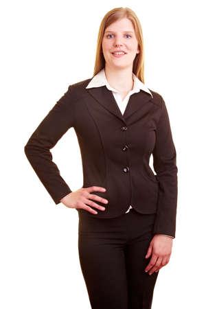 Photo pour Happy businesswoman looking to camera - image libre de droit