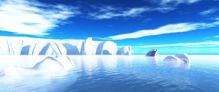 arctic icebergs in water