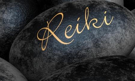 Black stones with text - Reiki