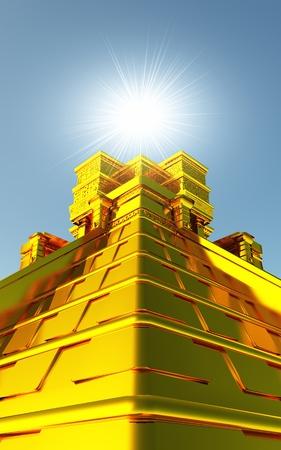 Goldener Maya Tempel in 3D mit Beleuchtung