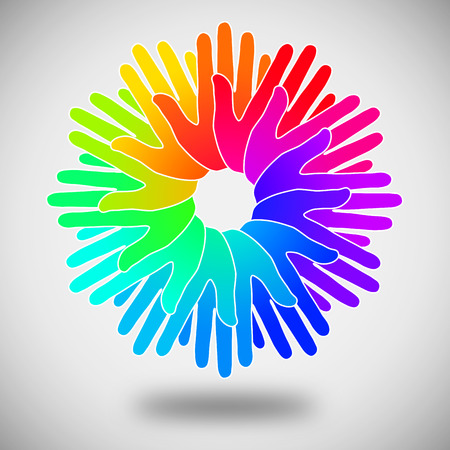 circle of colorful hands