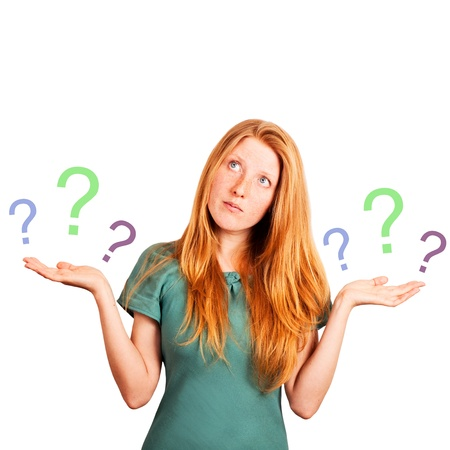 red-haired girl facing a choice isolated on a white, holding a questions marks at her hands