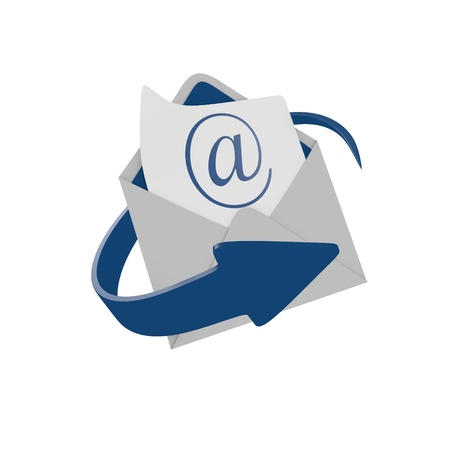Envelope mail with blue arrow