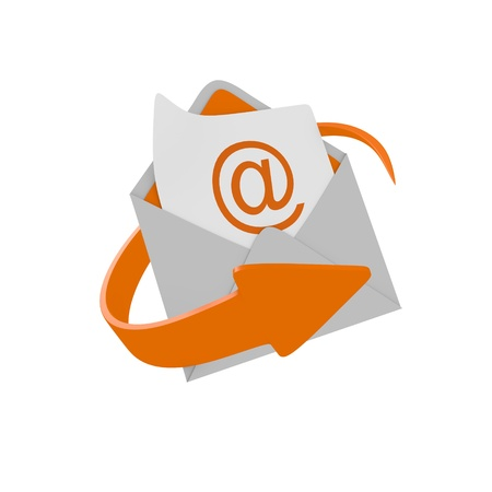 Envelope mail with orange arrow